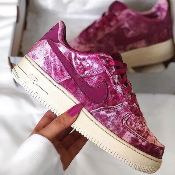 pink velour air force 1
